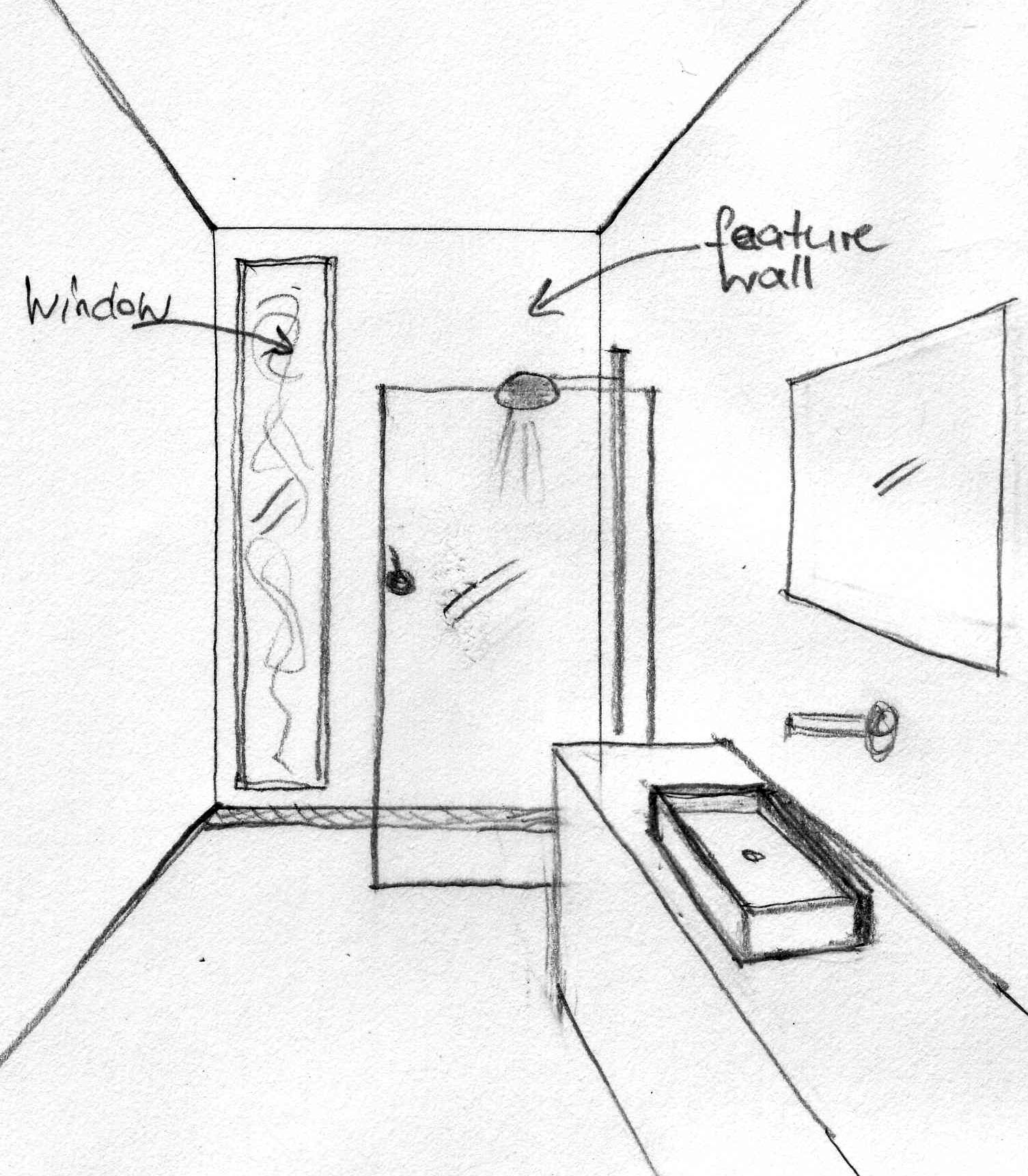 sketch new bathroom layout. Residential interior design  renovation  Buttaba NSW   INAO Design